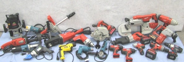 Used hand and Power tools, used saws, used drills, used electric tools, used chainsaws, used grinders