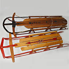 vintage wooden Flexible Flyer sleds and sleighs (with cushion) to toboggans, plus new Lucky bums sleds and other used plastic sleds